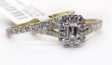 1.2Ct Emerald Diamond 14k Yellow Gold Bridal Set Engagement Ring & Wedding Band