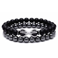 Charm 8MM Matte Onyx Hematite Stone Bead Bracelet with Unique Tiger Eyes for Men