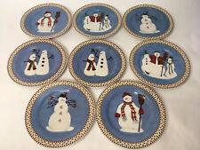 """Debbie Mumm Snowman 8"""" Dessert Salad Plates by Sakura, Set of 8"""