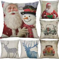 Christmas Car Cotton Linen Sofa Waist Cushion Cover Pillow Case Home Decor