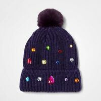 Girls Knit Beanie Hat - Cat & Jack - Navy Blue Jewels OSFM #27