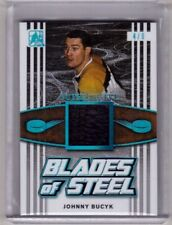 JOHNNY BUCYK 17/18 Leaf BLUE Blades of Steel Leather Skate Patch #d 4/9 Bruins