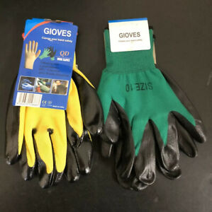 2 Pairs Working Garden Gloves Protective Glove Nitrile Coated Nylon # 5941, 5940