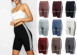 LADIES WOMENS STRIPE CYCLING SHORTS DANCING ACTIVE STRECH GYM YOGA FITNESS NEW
