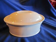 """PILLIVUYT FRANCE, LARGE OVAL PORCELAIN FRENCH CASSEROLE WITH LID, 10.5"""" X 8"""""""