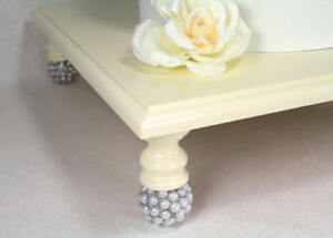 Ivory, Silver, Pearl Square Wedding Cake Stand, Cupcake Stand Display, Cottage..