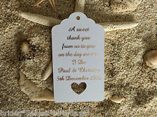10 Kraft Gift Tags Wedding Favour Personalised A Sweet Thank You Rose Gold Foil