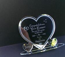 Engagement Personalised Congratulations  Heart Keepsake Gift Present Engraved