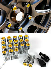 20 Pcs M14 X 1.5 Gold Wheel Lug Nut Bolts With Security Cap +Key+Socket For Audi