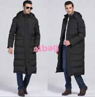 Mens Coat Black Long Hooded Full Length Parka Jacket Warm Stylish Down Winter