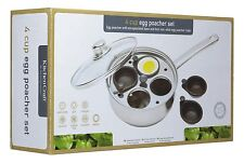 KitchenCraft Stainless Steel 4-Hole Egg Poacher