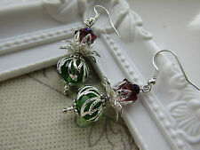 Lucky Scottish Thistle Earrings - Bridal Burns Night Wedding Flowers SILVER