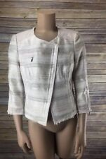 White House Black Market Ivory Tweed Striped Fringe Cropped Blazer Jacket Sz 6