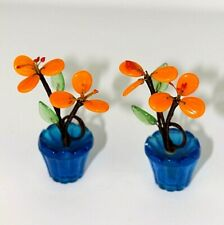 2 Glass place name holders Vtg Orange flower pots Dinner party Wedding Party 44
