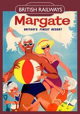 Margate Vintage British Railways Poster (repro) - Seaside / Landmark A4