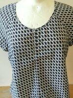 Ladies Nicole Farhi Silk & Cotton Short Sleeve Patterned Top Size UK 16