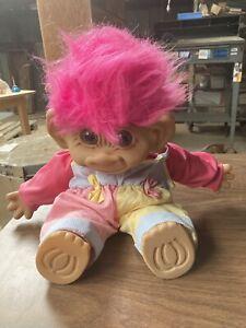 "Vintage Large 18"" Uneeda Troll Doll Pink Hair Overalls, Push Stuffed Toy Figure"