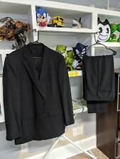 CALVIN KLEIN  Elegance black Mens 100% WOOL 2PC Suit Sz 42XL pants 36x33