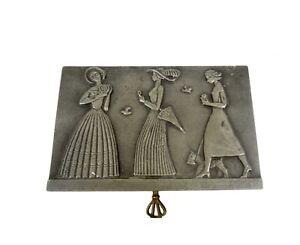 VERY RARE AVANTGARDE ART DECO JEWELRY METAL BOX CASE 1925 3 WOMAN WITH SCOTIE
