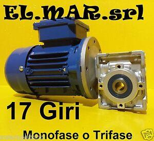 Motoriduttore 17 Giri HP 0,12 Riduttore di giri Motore Monofase Trifase Kw 0,09