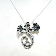 Collar de plata esterlina sólida de Dragón .925 mítica fantasía Joyas Regalo