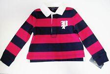 Ralph Lauren Girls Striped Long Sleeve Rugby Shirt Sport Pink Sz 4/4T - NWT