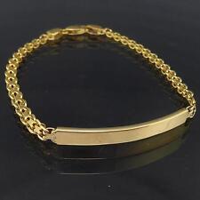 Unengraved / Blank 18k Solid Yellow GOLD FANCY BISMARK LINK I.D. BRACELET