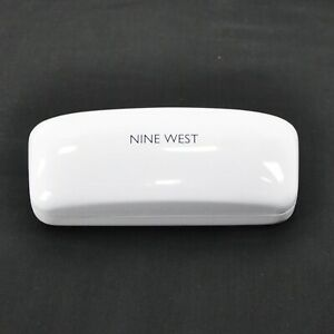 New Nine West Ladies Hard Clamshell Sunglass Case White Black Interior