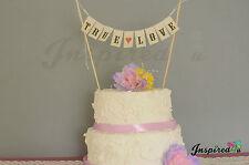 True Love Wedding Cake Topper Mini Bunting Banner Topping Shabby Chic Vintage