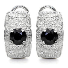 LOVELY 1.71 CARAT BLACK SAPPHIRE & DIAMOND 925 STERLING SILVER EARRINGS