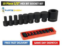 "ALLEN KEY / HEX BIT SOCKET SET 10PC 1/2"" Drive 6mm to 19mm - H4 to H19  (CT2526)"
