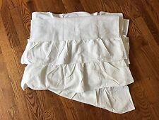 """POTTERY BARN Kids White Blackout Curtain Panel Linen EVELYN Ruffle Bottom 63"""""""