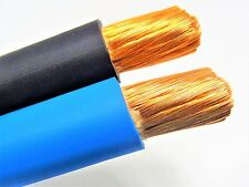 40' FT 1/0 AWG WELDING/BATTERY CABLE 20' BLACK 20' BLUE 600V MADE IN USA COPPER