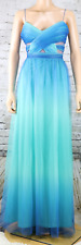 ADRIANNA PAPELL HAILEY LOGAN Dress Gown Ombre Turquoise Spaghetti Strap 19/20