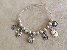 Vintage Sterling Silver Charm Bracelet PRAYER HOPE I❤️MY FAMILY LAUGH OFTEN LOVE