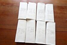 8 Serviettes de table en damassé blanc Monogramme T-M Réf 12/B AR