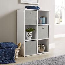 Storage Cube 6 Shelf Bookcase Wooden Display Unit Organiser White Furniture