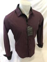 Mens CAVIAR DREMES Designer Shirt Woven BLACK BURGUNDY Roar W Class ABSTRACT 630