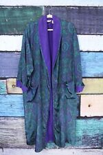 Victoria's Secret Gold Label Green Purple Terry Cloth Lined Satin Robe Vtg O/S