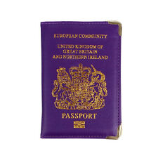 UK Passport Holder Protector Cover Wallet PU Leather United Kingdom EU Purple