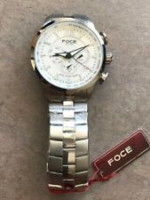 FOCE Stainless Steel Watch Chronograph Day Date 45mm F914GSM Three Sub Dials B-E