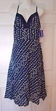 NWT Blue & White Dress Sundress Pin Up Style Sleeveless V-Neck Junior Sz Medium