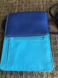 Mywalit crossbody turquoise & navy leather wallet