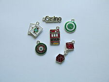 12 CASINO CHARMS dice cards chips casino sign slot machine GAME NIGHT charm CUTE