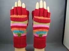Red gloves stripe flip top mittens convertible fingerless texting open thumb