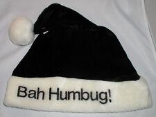 Santa Hat BLACK BAH HUMBUG - Funny Holiday Christmas Cap Gag Gift NEW! CHEAP!