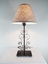 Tischlampe Nachttischlampe Tischleuchte Eisen Metall Landhaus Leinenschirm