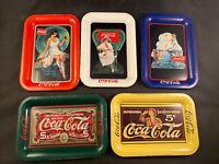 """VTG Coca Cola, Coke Set of 5 Mini Advertising tin trays 6 1/2"""" x 4 1/2"""""""