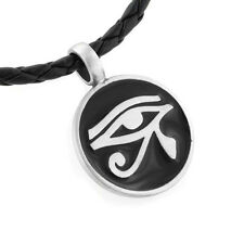 "Egyptian Eye of Horus Amulet Silver Pewter Pendant 20"" Necklace"