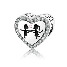 Pandora Boy Girl Dancing kissing Heart Charms Beads With CZ Enamel, 100% S925